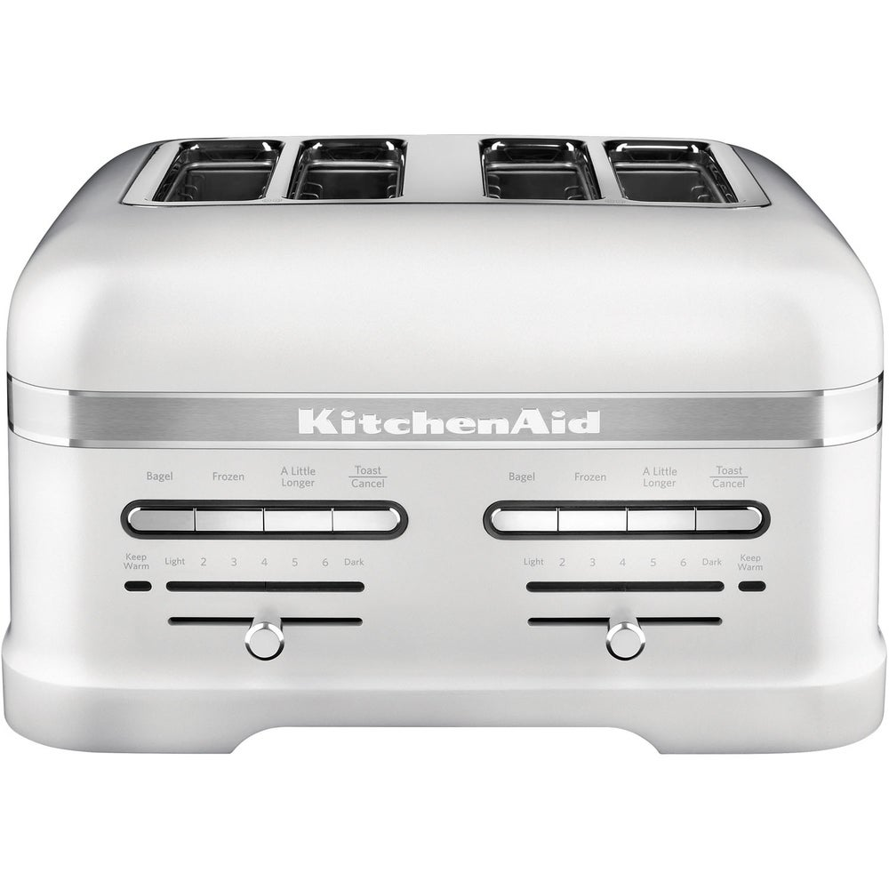 Kitchenaid Pro Line 4 Slice Automatic Toaster With Dual Independent Controls In Frosted Pearl White Shefinds