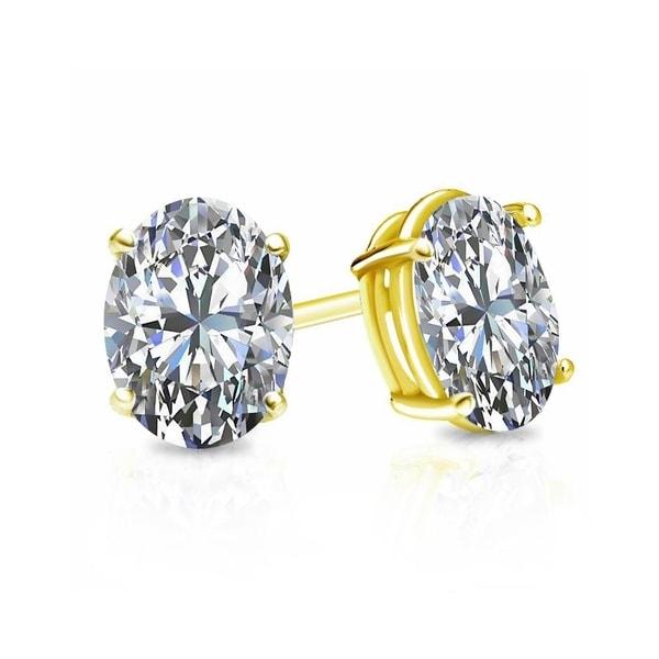 14k Gold Oval Shaped 1 Carat Tdw Diamond Stud Earrings By Auriya