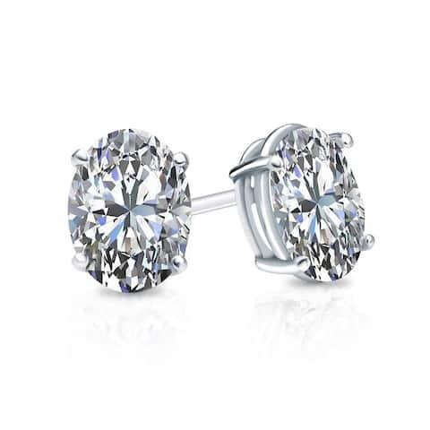 14k Gold Oval Shaped 1 1/2 carat TDW Diamond Stud Earrings by Auriya