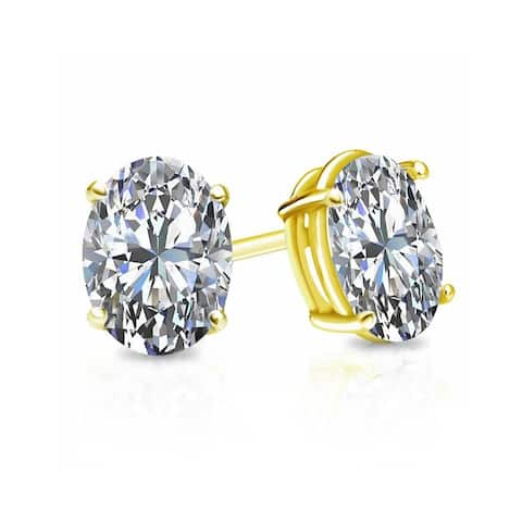 Auriya 2 carat TW Oval cut Diamond Stud Earrings 14k Gold - G-H, VS1-VS2
