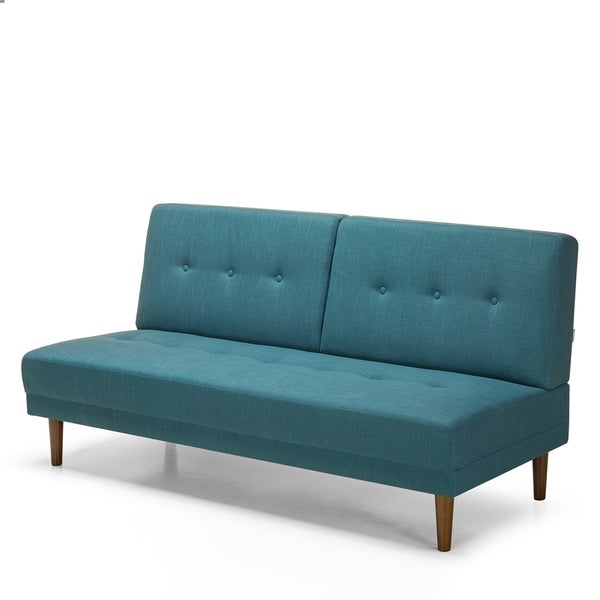 Shop Priage By Zinus Mid-Century Armless Sofa, Turquoise