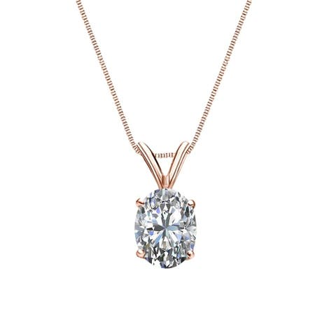 Auriya 1/4cttw Solitaire Oval Diamond Necklace 14k Gold