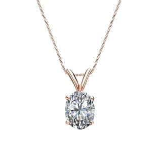Auriya 1 4cttw Solitaire Oval Diamond Necklace 14k Gold