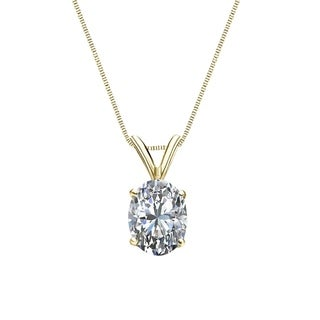 Auriya 1 2cttw Solitaire Oval Diamond Necklace 14k Gold