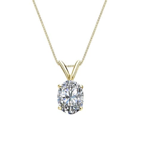 Auriya 3/4cttw Solitaire Oval Diamond Necklace 14k Gold