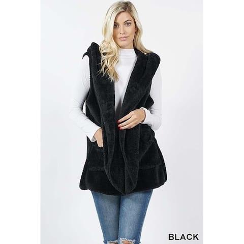JED Women's Soft Fleece Hooded Vest