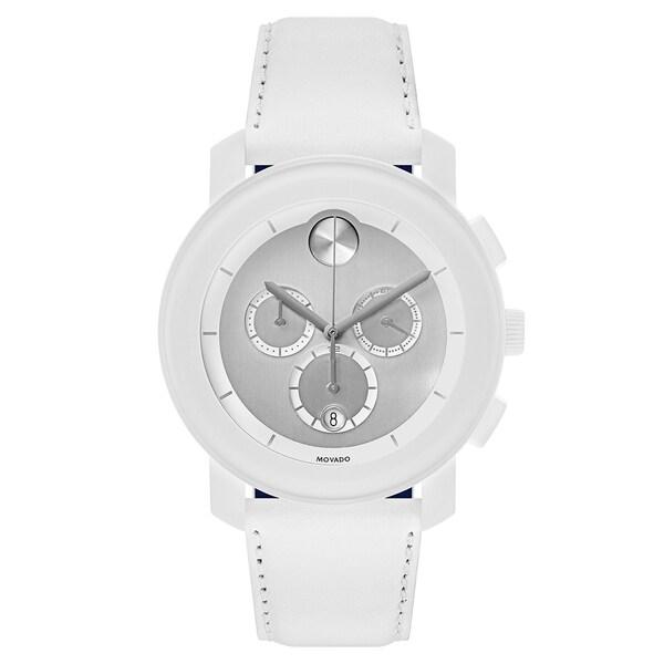 Movado Bold White Leather Strap Men's Watch