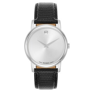 Movado Museum Black Leather Strap Men's Watch