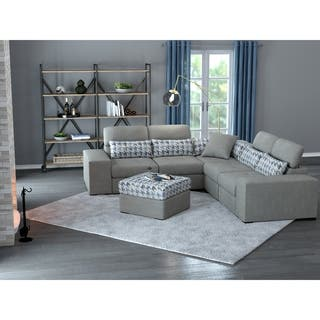 Copper Grove Ciney Rhap Dove Grey Mix 6-piece Sectional and Ottoman