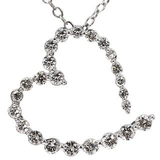 1 2 Ct Diamond Heart Pendant 10k White Gold Womens Necklace