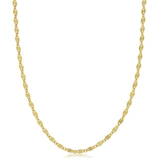 Yellow Gold Over Sterling Silver 3.6 millimeter Mirror Flat Link Necklace (18 inches)