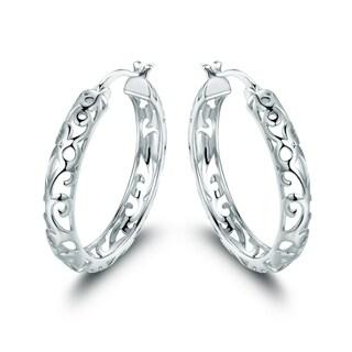 Rhodium Plated Filigree Hoop Earrings