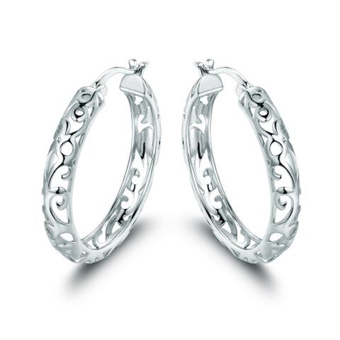 Rhodium Plated Filigree Hoop Earrings