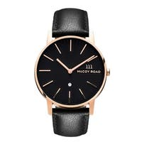 c16672fa6cfc4 McCoy Road  Nine30  Stainless Steel Rose Gold Tone and Black Leather Strap  Watch with