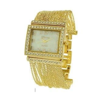 Covet Women's 'Phoebe' Gold Tone Chain Bead Bracelet Quartz Watch