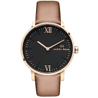 2be09193960e7 McCoy Road  Seven50  Stainless Steel Rose Gold Tone and Brown Leather Strap  Watch