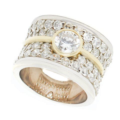 Michael Valitutti Sterling Silver Round Cubic Zirconia Ring