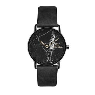 a16cde874dc55 McCoy Road Women s  Nine30 Micro  Stainless Steel Genuine Black Marble Dial  Black Leather Strap