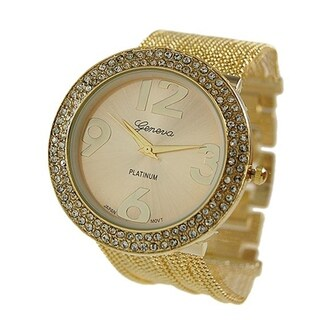 Covet Women's 'Ava' Gold Tone Chain Bead Bracelet Quartz Watch