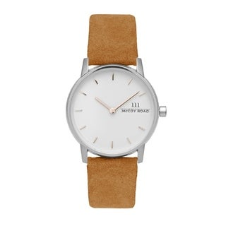 McCoy Road Women's 'Nine30 Micro' Stainless Steel Camel Suede Leather Strap Watch