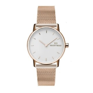McCoy Road Women's 'Nine30 Mirco' Stainless Steel Rose Gold Tone Mesh Strap Watch