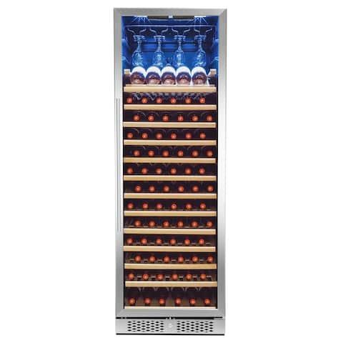 AKDY 83-Bottle Touch Panel Single Zone Shelves Freestanding Compressor Wine Cooler