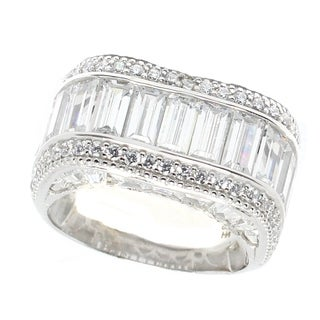 Michael Valitutti Sterling Silver Cubic Zirconia Baguette Ring