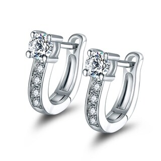 White Gold Plated Hoop Earrings Made with Swarovski Elements