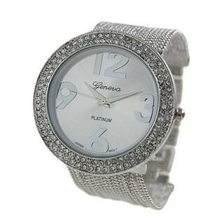 Covet Women's 'Ava' Silver Tone Chain Bead Bracelet Quartz Watch