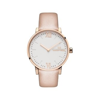 McCoy Road 'Seven50' Stainless Steel Rose Gold Tone Nude Leather Strap Watch