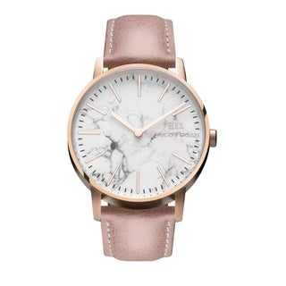 McCoy Road 'Ten40' Stainless Steel Rose Gold Tone Genuine White Marble with Blush Leather Strap Watch
