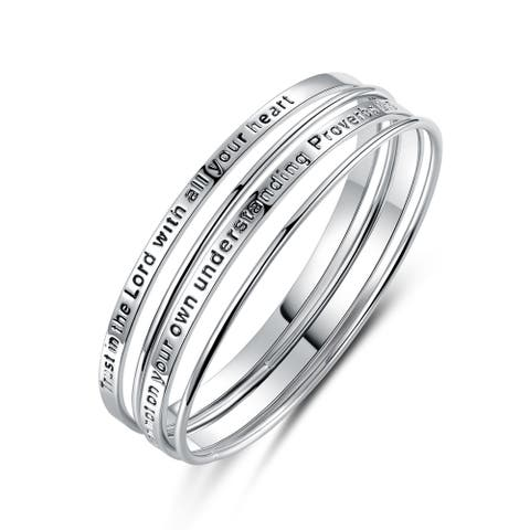 White Gold Plated Trust in the Lord Religious Bangle Set