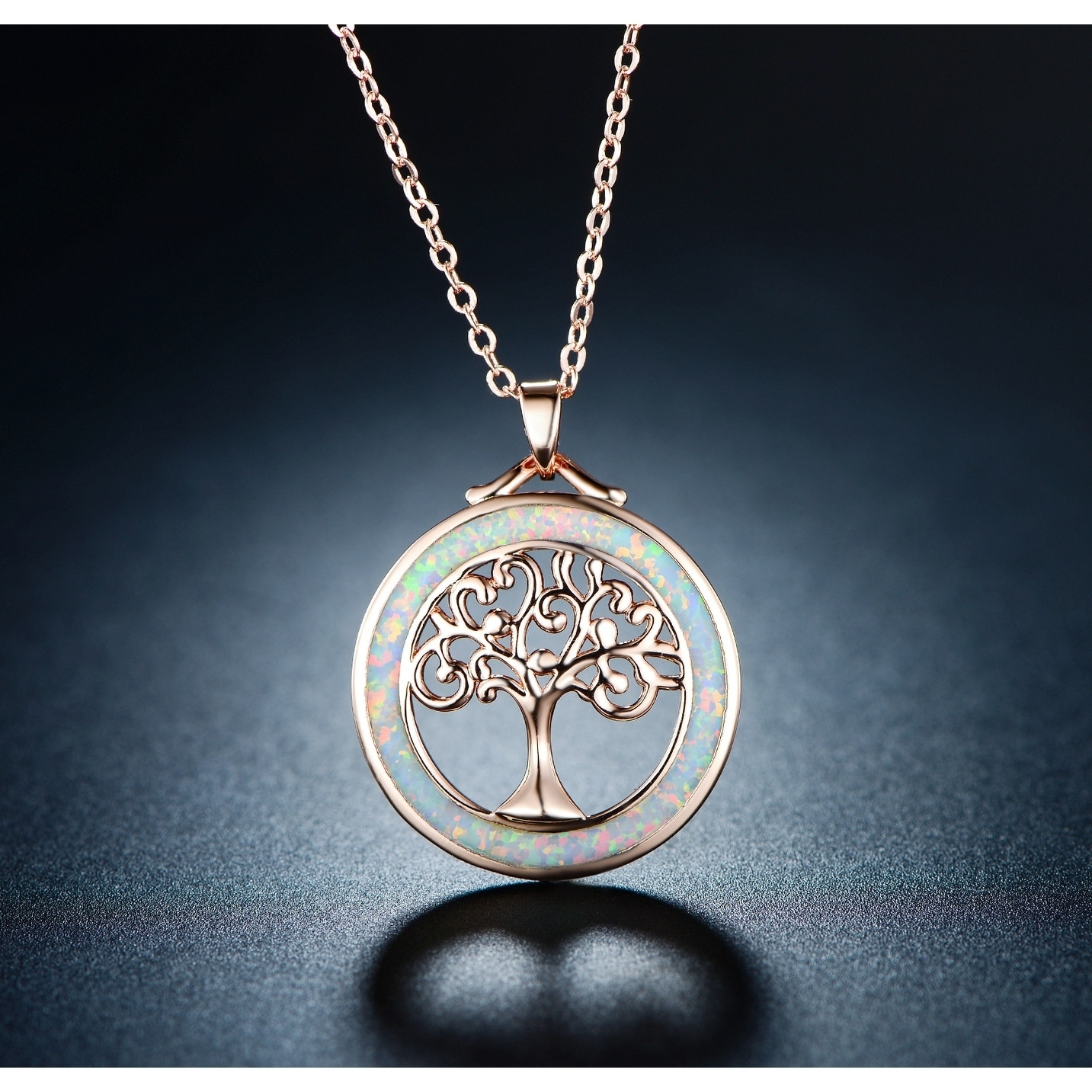 1a6bf31565cb8e Shop Rose Gold Plated Fire Opal Tree Of Life Pendant Necklace - On Sale - Free  Shipping On Orders Over $45 - Overstock - 24224980