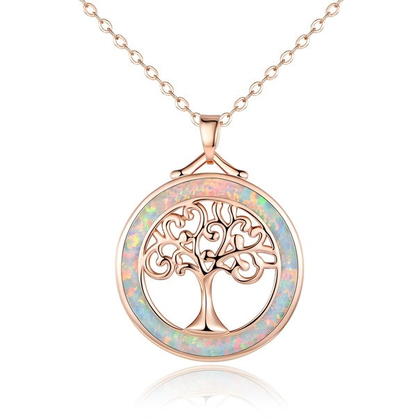 Shop Rose Gold Plated Fire Opal Tree Of Life Pendant Necklace On