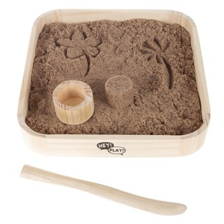 Tabletop Sand Box with Cylindrical Mold and Shaping Tool by Hey! Play!