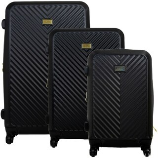 Macbeth Collection Black Molded Quilt 3 Piece Luggage Set
