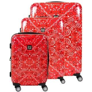 Ful Printed Bandana Hard Sided 3 Piece Luggage Set, Red