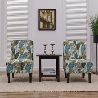 Handy Living Brodee Blue Leaf Armless Accent Chairs (Set of 2)