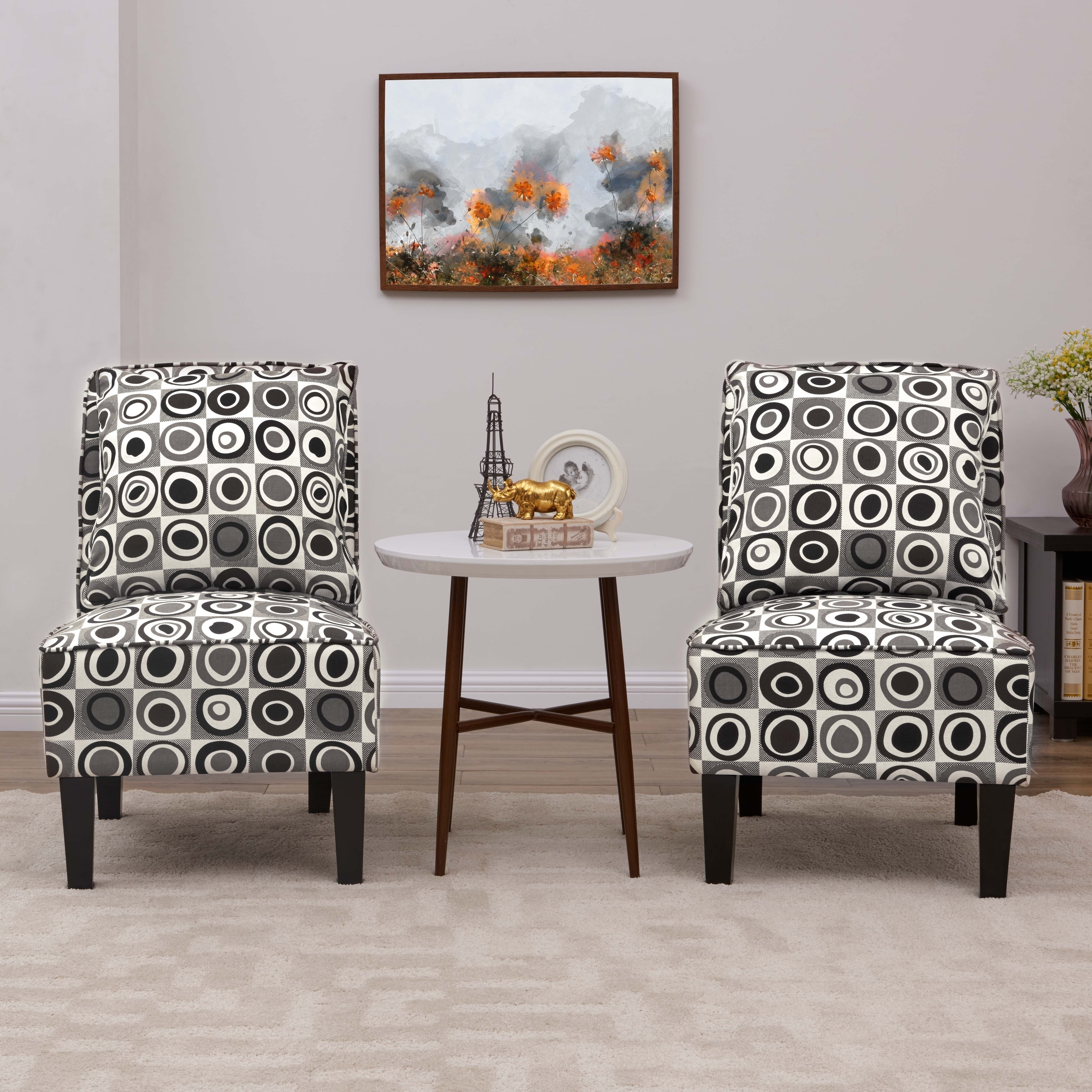 Picture of: Copper Grove Couvin Grey Geometric Circles Armless Accent Chairs Set Of 2 On Sale Overstock 24226136