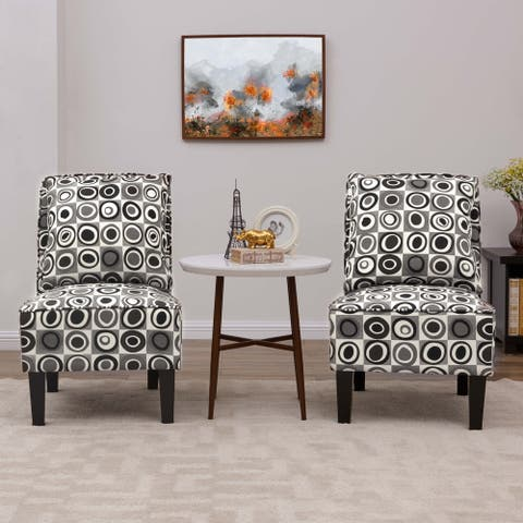Copper Grove Couvin Grey Geometric Circles Armless Accent Chairs (Set of 2)