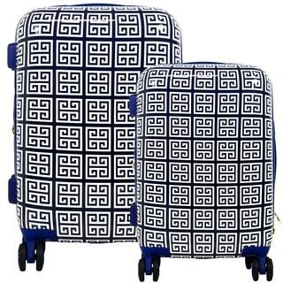 Macbeth Collection Geo Print Hard Sided 2 Piece Luggage Set, Blue