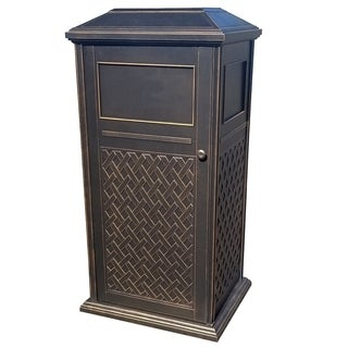 Modern Home Laguna Weatherproof Indoor/Outdoor Cast Aluminum Trash Receptacle Bin
