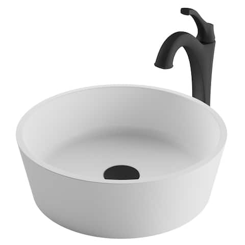 Kraus 3-in-1 Bathroom Set C-KSV-1MW-1200 White Round Composite Vessel Sink, Arlo 1-Hole Faucet, Pop Up Drain, 4 finish