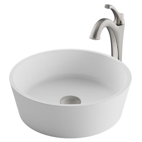 Kraus 3-in-1 Bathroom Set C-KSV-1MW-1200 White Round Composite Vessel Sink, Arlo 1-Hole Faucet, Pop Up Drain, 4 finish