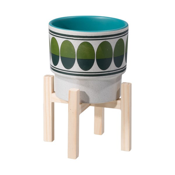 Porch & Den Lakewood Small Green and Teal Retro Oval Pattern Planter