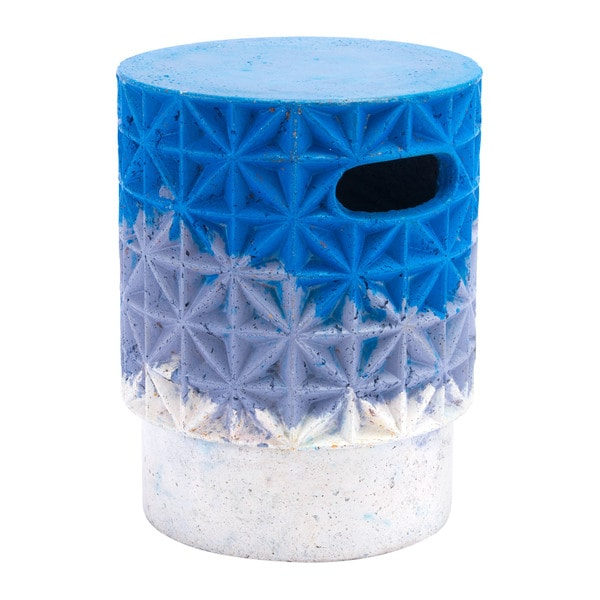 Havenside Home Vichayito Grid Blue Cement Garden Seat