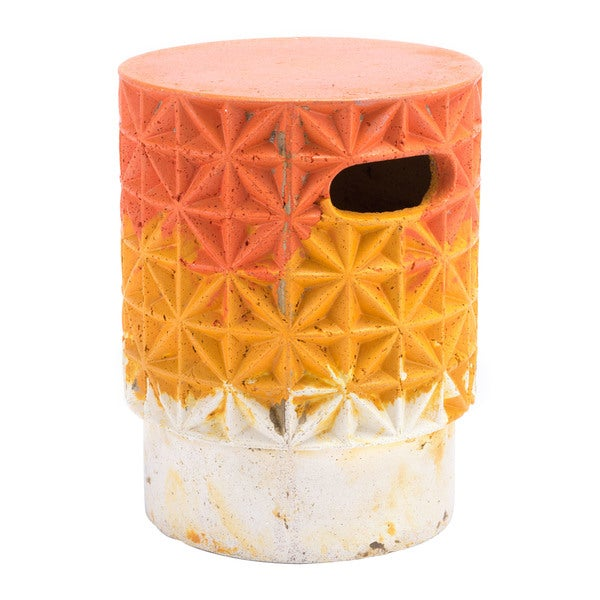 Havenside Home Vichayito Orange Cement Grid Garden Seat