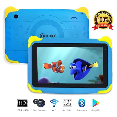"Contixo Kids Tablet K4 Android 6.0 7"" Touch Screen Display Bluetooth WiFi Camera - Blue"