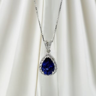 18k White Gold 2 1/3ct Blue Sapphire and 3/8ct TDW Diamond Halo Necklace