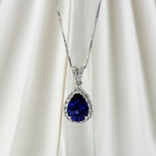 18k Gold Pear Shaped 2 1/3ct Blue Sapphire and 3/8ct TDW Diamond Halo Necklace by Auriya
